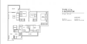 JadeScape Floor Plan 3 Bedroom C1a