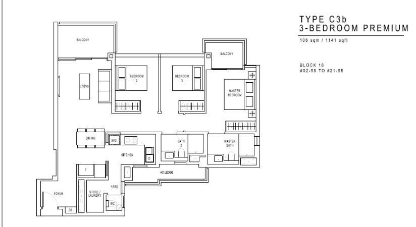 JadeScape Floor Plan 3 Bedroom C3b